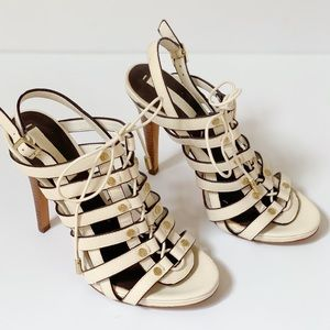 BCBG Maxazria Lace up heel Ivory strappy sandals 7